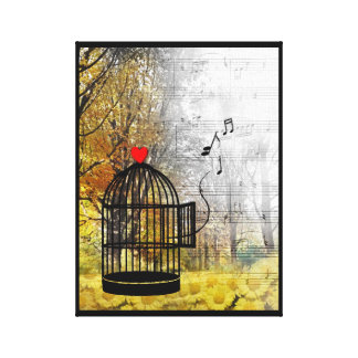 Autumn song with bird cage and heart canvas print
