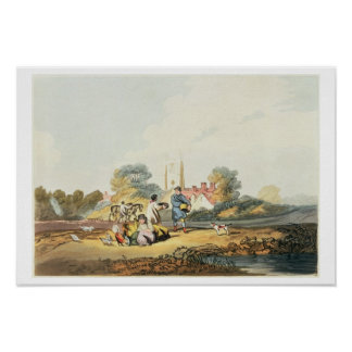 Autumn, sowing grain, 1818 (hand coloured etching poster