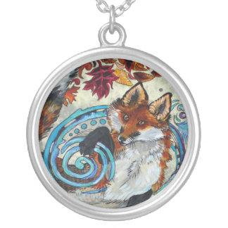 Autumn Spiral Fox Round Pendant Necklace