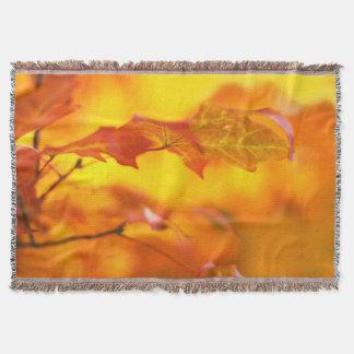 Autumn Splendor - Colorful, Bright Fall Leaves Throw Blanket