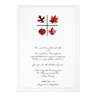 Autumn Square - Fall Leaf design in Red Orange Announcements