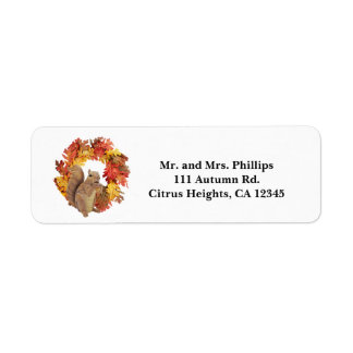 Autumn Squirrel eating acorn & Fall Leaves Wreath Label