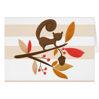 Autumn Squirrel on a branch greeting card