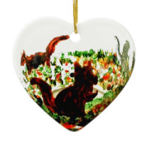 Autumn Squirrels Animal Art Ceramic Ornament