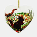 Autumn Squirrels Animal Art Double-Sided Heart Ceramic Christmas Ornament