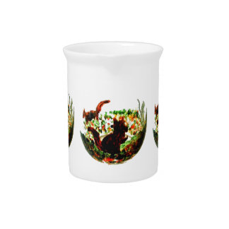 Autumn Squirrels Animal Art Pitcher