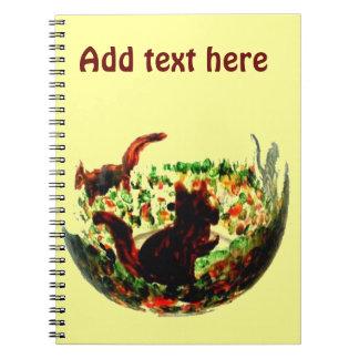 Autumn Squirrels Animal Art Spiral Notebook