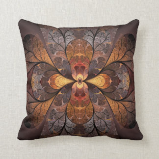 Autumn Stained Glass Throw Pillow