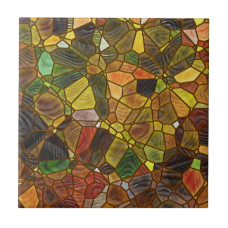 Autumn stained glass tile