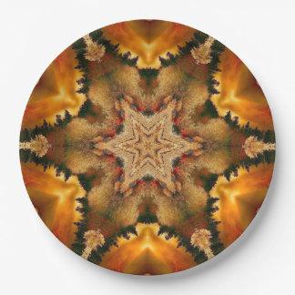 Autumn Stars Mandala Paper Plate