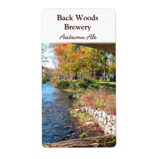 Autumn Stream ~ Beer Wine Label Shipping Label
