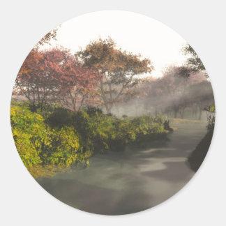 Autumn Stream Classic Round Sticker