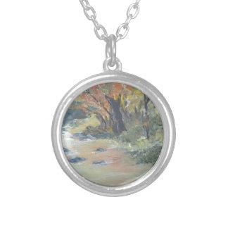 Autumn stream round pendant necklace