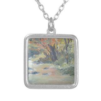 Autumn stream square pendant necklace