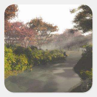 Autumn Stream Square Sticker