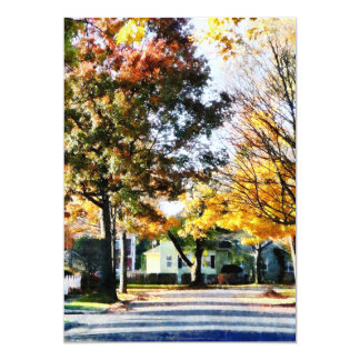 Autumn Street With Yellow House Card