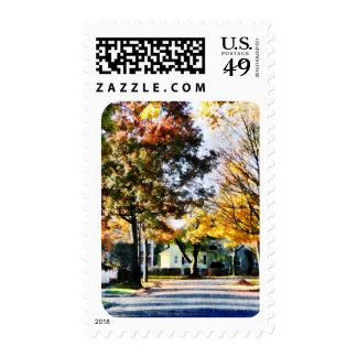 Autumn Street With Yellow House Postage Stamps