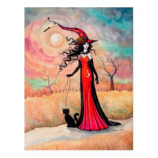 Autumn Stroll Halloween Witch and Black Cat Art Postcard