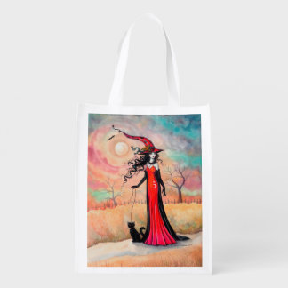 Autumn Stroll Halloween Witch Fantasy Art Grocery Bag