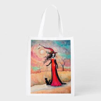 Autumn Stroll Halloween Witch Fantasy Art Grocery Bag