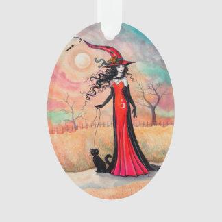 Autumn Stroll Halloween Witch Fantasy Art Ornament