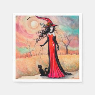 Autumn Stroll Halloween Witch Fantasy Art Paper Napkins