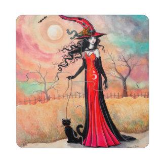 Autumn Stroll Halloween Witch Fantasy Art Puzzle Coaster