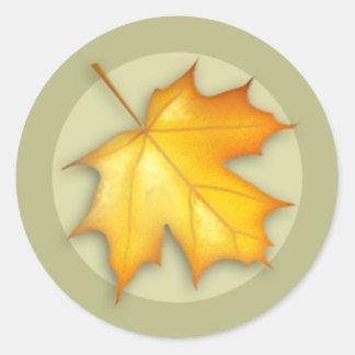 Autumn Sugar Maple Leaf Round Sticker