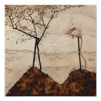 Autumn Sun and Trees by Egon Schiele Print