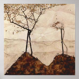 Autumn Sun and Trees by Egon Schiele Print