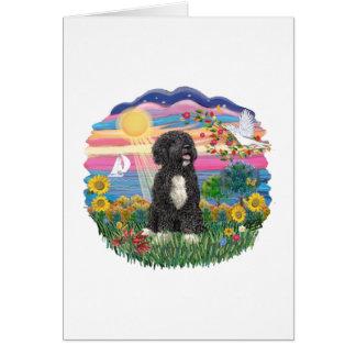 Autumn Sun-Portuguese Water Dog (bw) Card