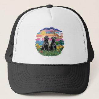 Autumn Sun - Two Black Labs Trucker Hat