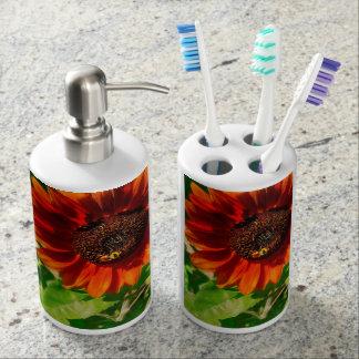 Autumn Sunflower And Bumble Bee Bathroom Set