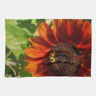 Autumn Sunflower And Bumble Bee Kitchen Towel