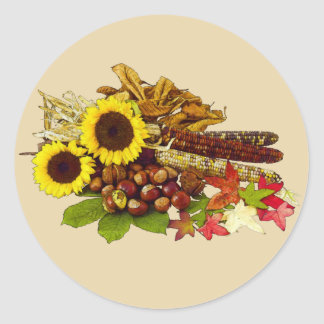 Autumn Sunflower and Corn Bouquet Classic Round Sticker