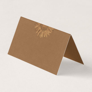 Autumn Sunflower Folded Place Cards