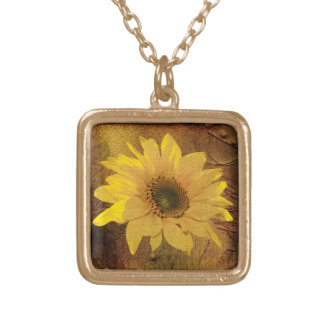 Autumn sunflower gold plated necklace