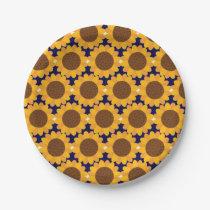 Autumn Sunflower Pattern Paper Plate
