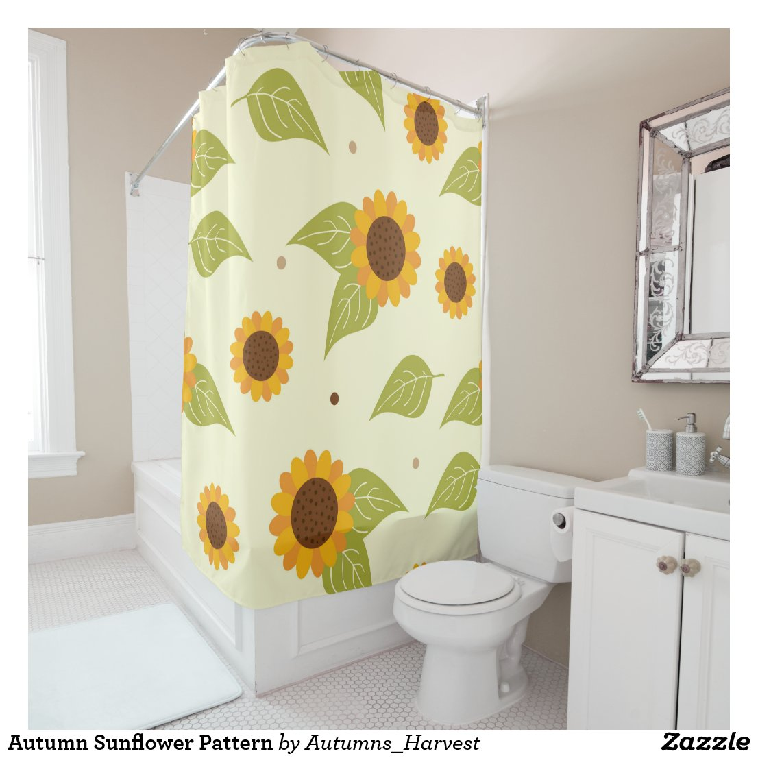 Autumn Sunflower Pattern Shower Curtain