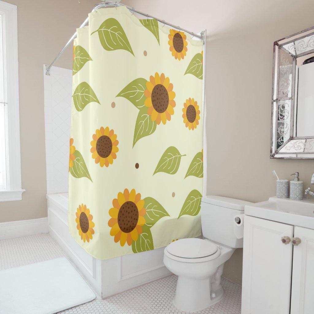 Autumn Sunflower Pattern Shower Curtain