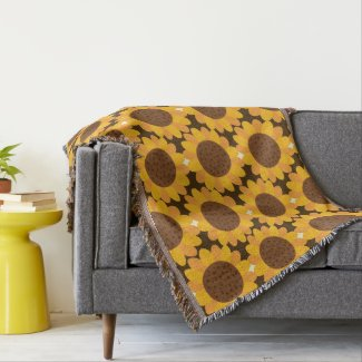 Autumn Sunflower Pattern Throw Blanket