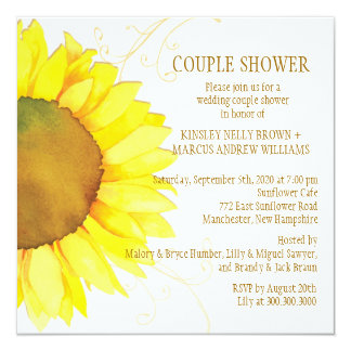 Autumn Sunflower Wedding Couple Shower Invitation