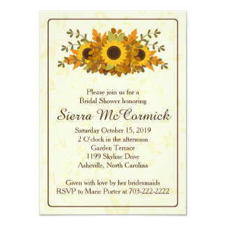 "Autumn Sunflower Wreath Bridal Shower Invitation 4.5"" X 6.25"" Invitation Card"