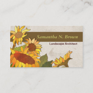 Landscape architect business cards zazzle autumn sunflowers unique business cards colourmoves