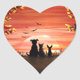Autumn Sunset Dog and Cat Fall Heart Sticker