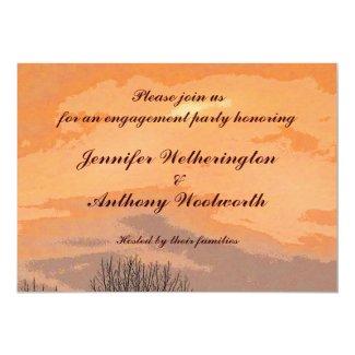 Autumn Sunset Engagement Party 5x7 Paper Invitation Card