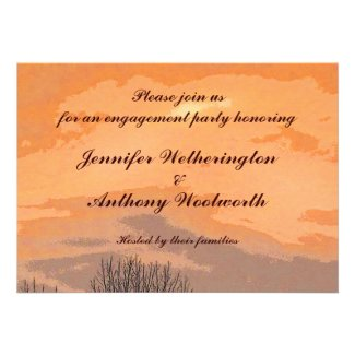 Autumn Sunset Engagement Party Invitations