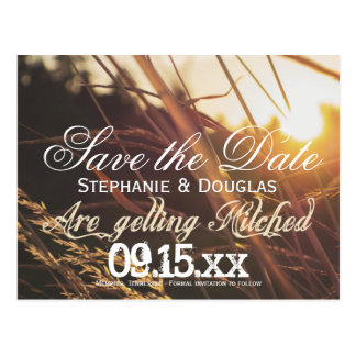 Autumn Sunset Fall Save the Date Postcards