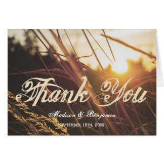 Autumn Sunset Fall Wedding Thank You Cards