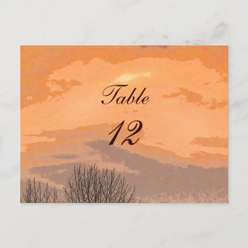 Autumn Sunset Table Number Postcards